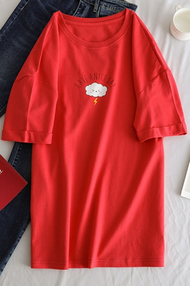 Fashion Girls' Short Sleeve Crew Neck Letter HAVE A NICE DAY Cloud Print Oversize Tee Top, Brown;red;yellow, LM583654