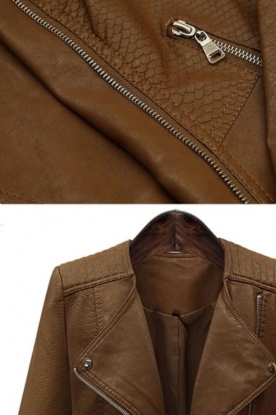 Fashion Street Ladies' Long Sleeve Peak Collar Zipper Front Slim Fit Leather Jacket