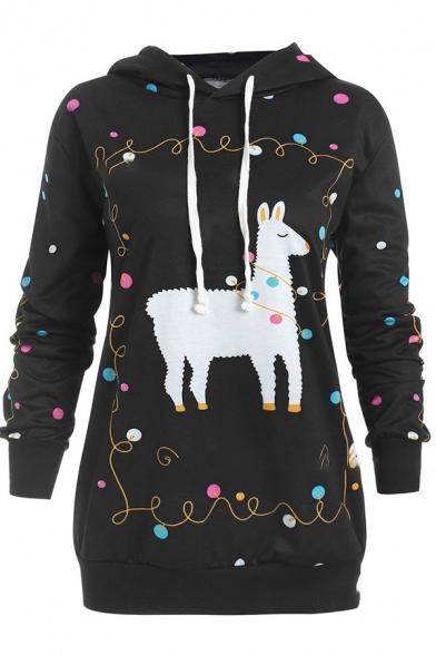 Lovely Cartoon Llama Christmas Lights Printed Long Sleeve Casual Pullover Hoodie