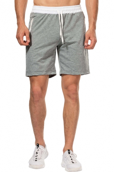 Male Popular Contrast Trim Drawstring Waist Zipper Pocket Cotton Beach Shorts