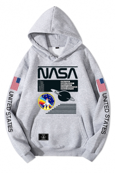 Men's Stylish NASA Letter Printed Long Sleeves Oversized Graphic Hoodie with Pocket