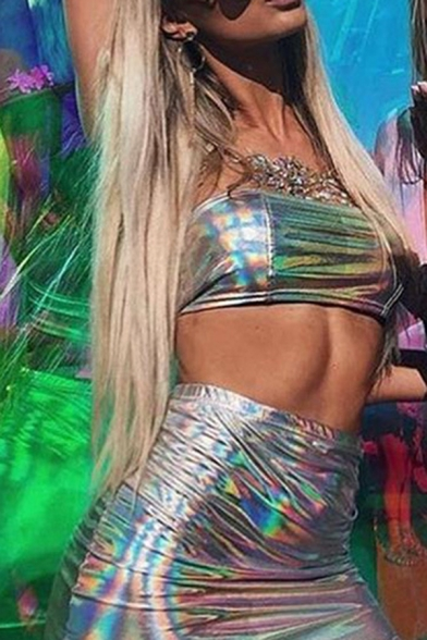 Nightclub Fashion Silver Metallic Crop Bandeau Top with Mini Bodycon Skirt Two Piece Set