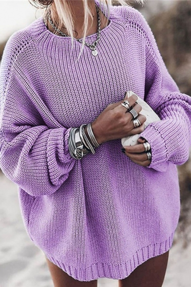 Trendy Street Ladies' Batwing Sleeve Crew Neck Oversize Chunky Knit Plain Pullover Sweater Top, Blue;red;gray;purple, LM576882