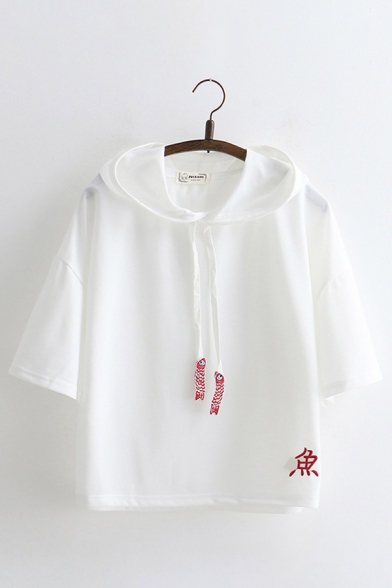 Unique Japanese Letter Embroidery Half Sleeve Loose Drawstring Hoodie for Summer, Blue;pink;white, LC582974