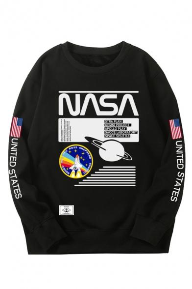 Unisex Fashion NASA Letter Planet Rocket Print Round Neck Loose Fit Pullover Sweatshirt