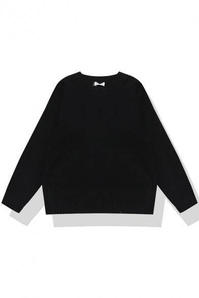 Basic Cozy Long Sleeve Crew Neck Stripe Print Boxy Purl Knit Pullover Sweater for Girls, Black;blue;brown;burgundy;chocolate;green;orange;pink;white;camel;dark blue;purple;yellow;black-white;white-black, LM580233