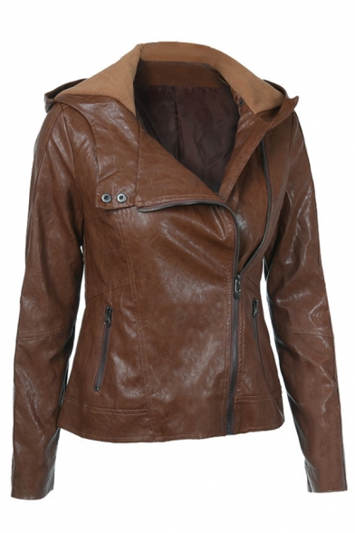 Brown Street Long Sleeve Hooded Zipper Front Pockets Side Slim Fit Leather Jacket for Girls
