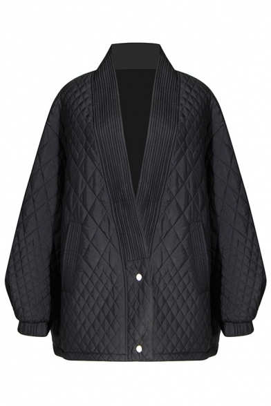 Casual Black Balloon Sleeve Deep V-Neck Button Front Baggy Thick Quilted Coat for Female
