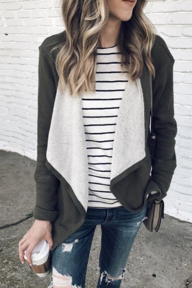 Casual Plain Long Sleeve Draped-Front Pockets Side Fuzzy Lined Loose Jacket for Women