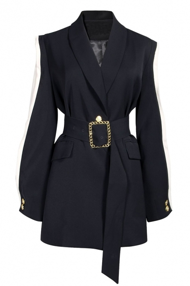 Chic Black Long Sleeve Shawl Collar Buckle Belted Contrasted Ruffle Trim Slim Slit Back Midi Blazer for Ladies, LM579226