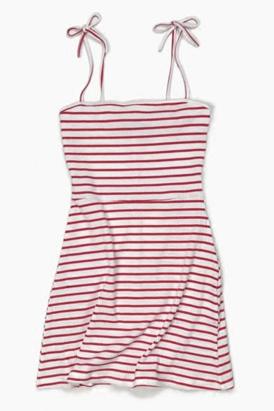 Chic Girls' Sleeveless Bow Tie Strap Stripe Printed Short A-Line Cami Dress LM584707 фото