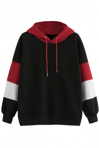 Cool Street Fashion Women's Long Sleeve Drawstring Contrasted Relaxed Fit Pullover Hoodie