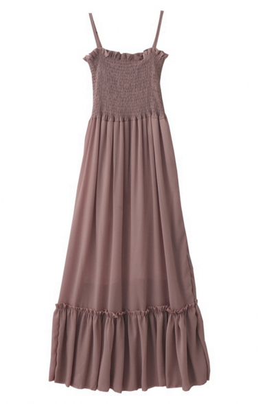Elegant Women's Sleeveless Ruffled Trim Pleated Plain Maxi Relaxed A-Line Cami Dress