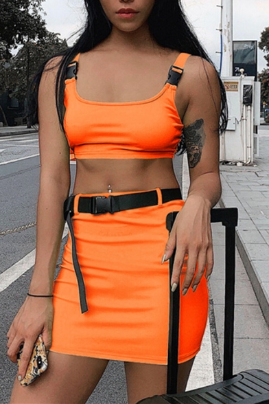 Female Sexy Push Buckle Straps Crop Tank Top with Mini Skirt Casual Solid Color Two Piece Set