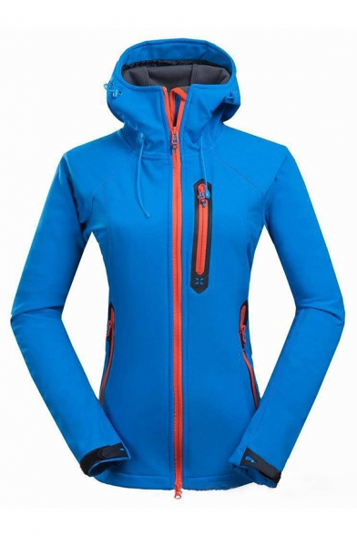 Female Sport Basic Long Sleeve Hooded Drawstring Zipper Decoration Pockets Side Contrast Piped Fitted Thick Plain Coat