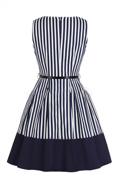 Formal Pretty Ladies' Sleeveless Surplice Neck Stripe Print Buckle Belted Zip Back Contrasted Mid Wrap Pleated Flared Dress in Navy