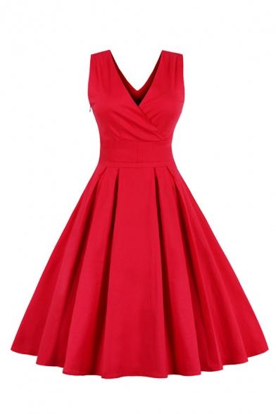 Formal Stylish Ladies Plain Sleeveless Surplice Neck Bow Tie Zip Side Midi Wrap Pleated Flared Evening Dress LM581178 фото