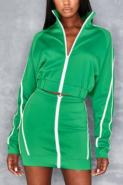 Green Active Striped Print Long Sleeve Zip Up Sweatshirt Coat with Zipper Front Mini Skirt