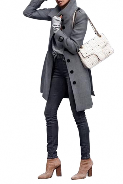 Grey Stylish Long Sleeve Stand Collar Button Down Midi Slim Fit Coat for Women