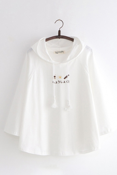 Lovely Japanese Letter Cartoon Embroidery Long Sleeve Thin Baggy Cloak Hoodie, White, LC582976