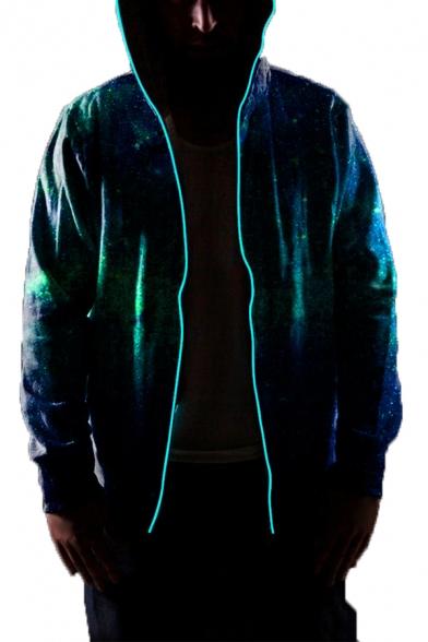 Men's Popular Green Starry Sky 3D Digital Printed Photoelectric Zipper Unique Hoodie
