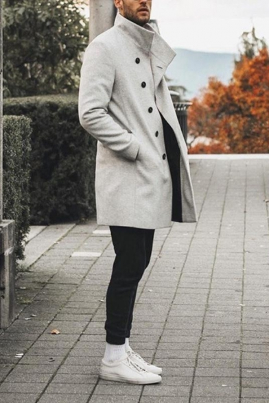 Mens Casual Plain Long Sleeve Single Breasted Longline Wool Coat with Pocket
