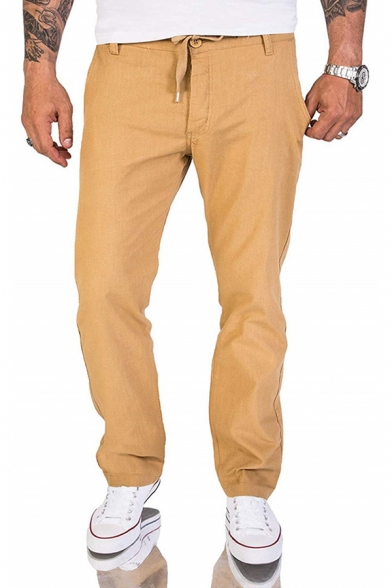 Mens Simple Plain Drawstring Waist Flap Pocket Back Relaxed Fit Casual Linen Pants