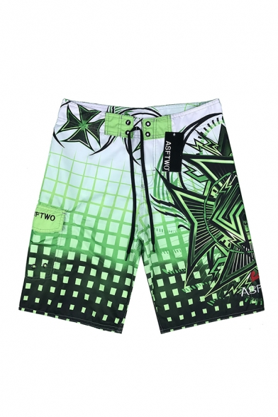 Mens Summer Fashion Tropical Print Quick Drying Surfing Shorts Sport Casual Swim Shorts