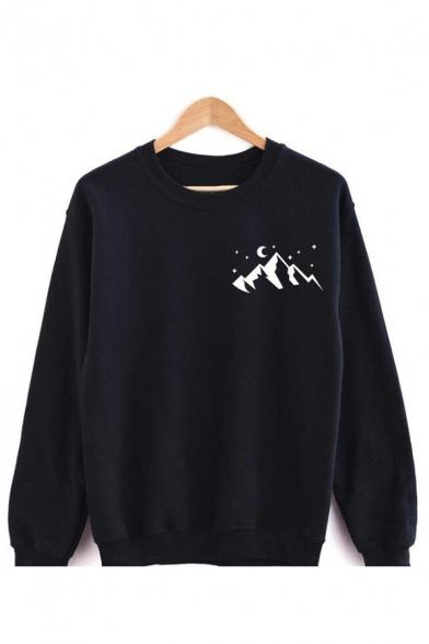 New Stylish Mountains Stars Printed Round Neck Long Sleeve Casual Sweatshirt