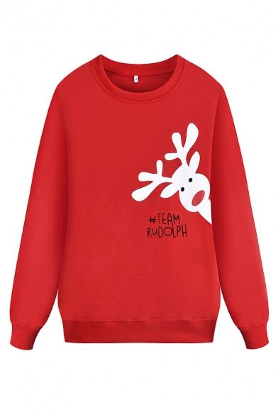 Red Trendy Long Sleeve Crew Neck TEAM RUDOLPH Reindeer Pattern Loose Fit Christmas Sweatshirt for Women, LM575647