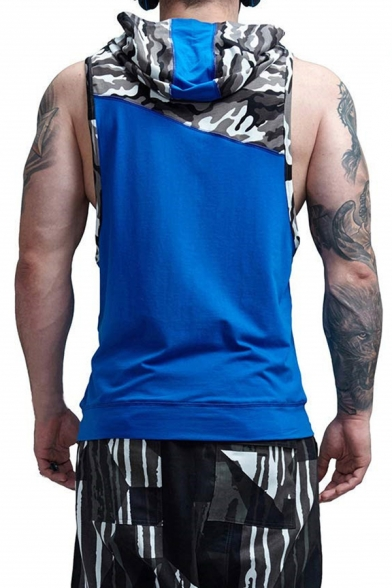 Sport Leisure Camo Panel Pouch Pocket Sleeveless Drawstring Hoodie Breathable Vest