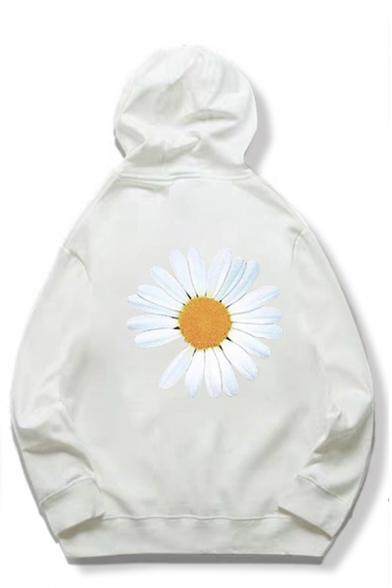 Unisex Cute Daisy Lightning PEACEMINUSONE Letter Print Long Sleeves Oversized Hoodie