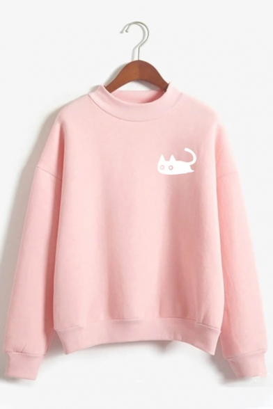 Womens Cute White Cat Pattern Long Sleeve Loose Fit Pullover Sweatshirt, Black;green;pink;red;royal blue;gray;sky blue;khaki, LC587158