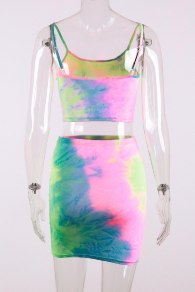 Womens Exclusive Tie Dye Printed Cropped Cami Top with Mini Fitted Skirt Two Piece Set