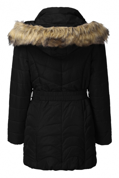 Basic Thickened Long Sleeve Hooded Zipper Front Fluffy Trim Buckle Belted Pockets Side Fitted Plain Down Coat for Female