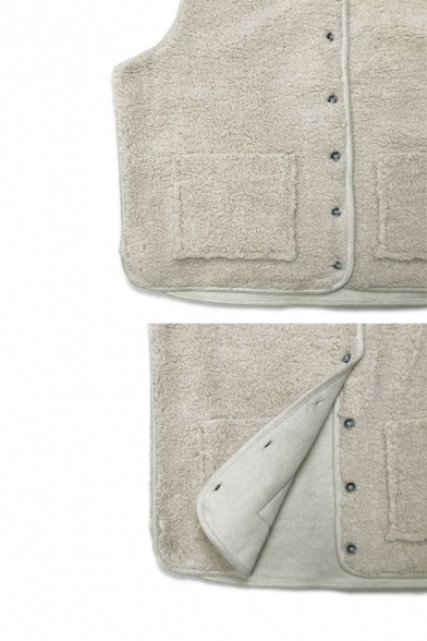 Casual Women Sleeveless Round Neck Button Down Patched Pockets Plain Relaxed Sherpa Fleece Vest
