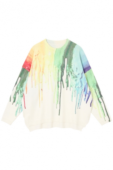 Classic Colorful Dripping Paint Long Sleeve Round Neck Oversized Pullover Sweater, Green;purple, LM579697