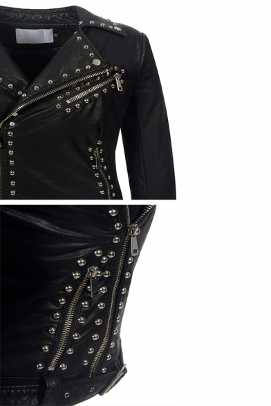 Cool Street Girls' Long Sleeve Notch Collar Zipper Rivet Decoration Buckle Belted Plain Fitted Leather Jacket