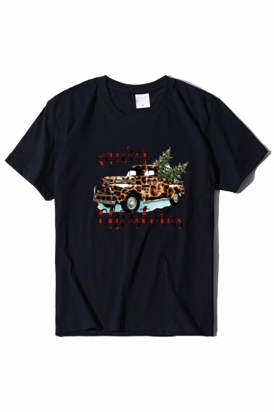 Cool Street Short Sleeve Crew Neck MERRY CHRISTMAS Letter Car Pattern Relaxed Fit T Shirt for Women