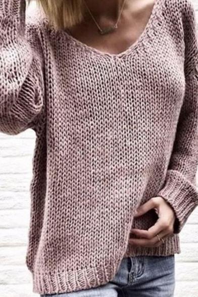 Cozy Stylish Women' Long Sleeve V-Neck Chunky Knit Plain Baggy Pullover Sweater, Pink;dark blue;light blue;purple;yellow;khaki, LM577854