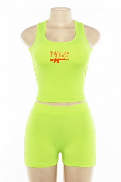 Funny Embroidery Gun Letter TWILEY Print Sleeveless Tank with Casual Shorts Two Piece Set