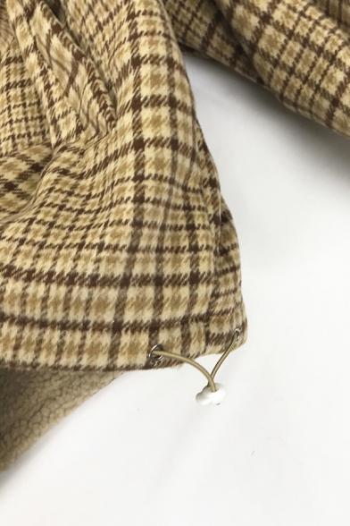 Girls Cute Thick Long Sleeve Lapel Collar Zipper Front Bear Print Plaid Pattern Reversible Oversize Crop Teddy Jacket in Khaki