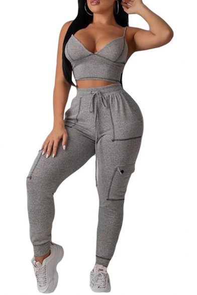 Ladies Sexy Plain Gray V-Neck Cami Top Contrast Stitching Drawstring Waist Pants Co-ords