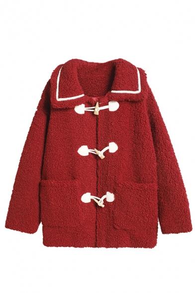 Бордовые красивые длинным рукавом утрировать карманы воротник контрастирует Шерпа мешковатые спортивные куртки для девочек