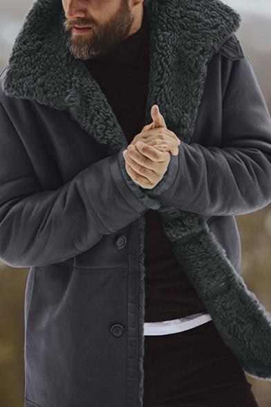 Mens Warm Solid Color Long Sleeve, Mens Winter Coats Fur Lined