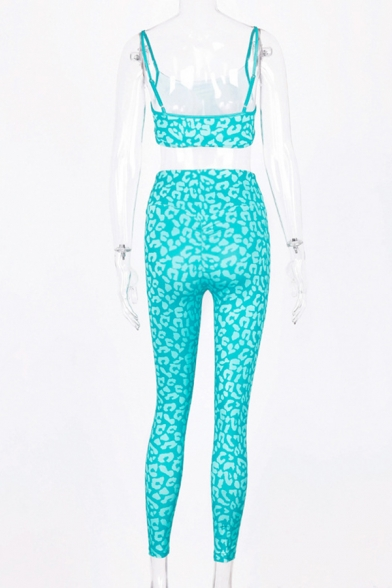 New Fashion Solid Color Leopard Print Cropped Cami Tank & Skinny Pants Two Piece Sports Set