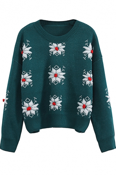 Popular Preppy Looks Long Sleeve Crew Neck Snow Pattern Knit Boxy Pullover Sweater for Girls LM580536 фото