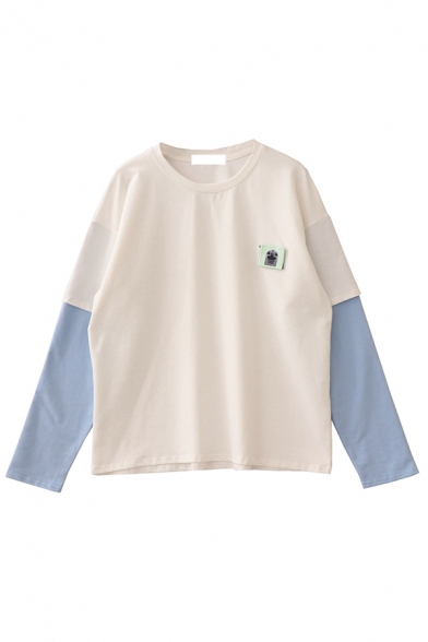 Preppy Girls' Long Sleeve Crew Neck Animal Embroidered Contrasted Patched Baggy T Shirt, White;light blue, LM581055