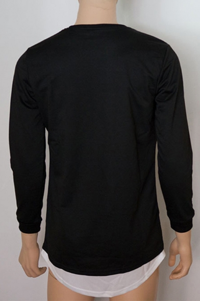 Unique Broken Holes Detail Long Sleeve False Two Piece Patchwork Fitted Pullover Sweatshirt