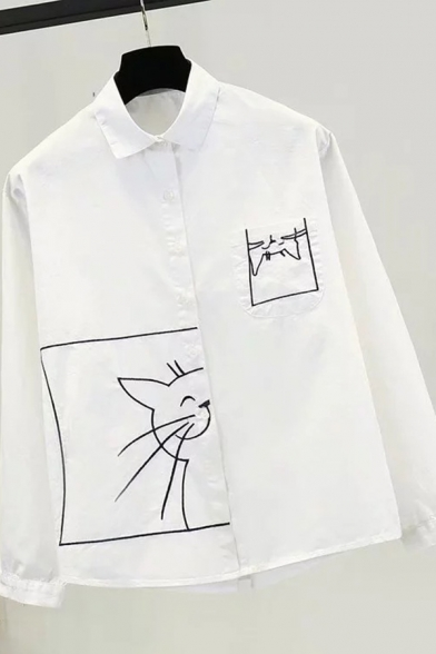 Womens Cute Cat Embroidery Printed Long Sleeve Button Up Loose White Shirt